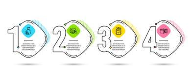 Значки контрольного списока, наличных денег и онлайн-платежа Знак методов оплаты Обзор, валюта банка, деньги абстрактное голубое  иллюстрация штока