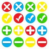 Значки - контрольные пометки, кресты, положительные величины и минусы Стоковая Фотография