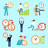 Значки контроля времени плоские бесплатная иллюстрация