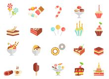 Значки конфеты и мороженого торта иллюстрация вектора
