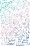 Значки космического пространства градиента цвета притяжки руки Вручите вычерченную солнечную систему с солнцем, планетами, астеро Стоковая Фотография RF