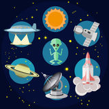Значки космоса в плоской иллюстрации вектора стиля Стоковое Изображение
