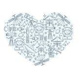 Значки космоса в форме сердца Стоковое Фото