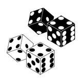 Значки кости казино изолированные на белой предпосылке также вектор иллюстрации притяжки corel Стоковая Фотография RF