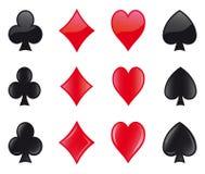 Значки костюмов карточек - бета-версия Стоковое Изображение RF