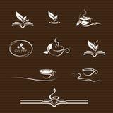 Значки кофе и книги иллюстрация штока
