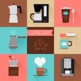 Значки кофе плоские Стоковые Фотографии RF