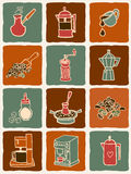 Значки кофе Стоковое Фото