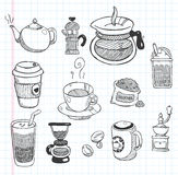 Значки кофе Doodle Стоковые Фотографии RF