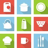 Значки кухни плоские Стоковое Изображение