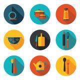 Значки кухонных приборов плоские Стоковое Изображение RF