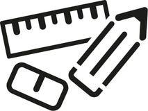 Значки ластика и карандаша правителя иллюстрация вектора