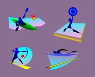 bages of summer olympic sports. kayaking, weightlifting, swimming, archery. vector illustration