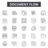 Значки линии текучести документа, знаки, набор вектора, концепция иллю иллюстрация вектора