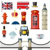 Значки Лондона винтажные ретро Стоковое Фото