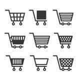 Значки магазинной тележкаи установленные на белую предпосылку вектор Стоковые Изображения RF