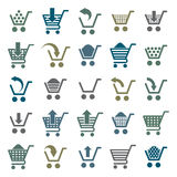 Значки магазинной тележкаи изолированные на белой предпосылке Стоковая Фотография