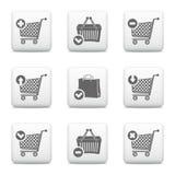 Значки магазинной тележкаи и корзины для товаров иллюстрация вектора