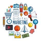 Значки маркетинга цифров плоские бесплатная иллюстрация