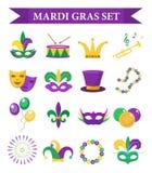 Значки масленицы марди Гра установленные, элемент дизайна, плоский стиль Собрание, маска с пер Стоковое фото RF