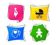 Значки материнства Младенец младенца, беременность, багги вектор иллюстрация вектора