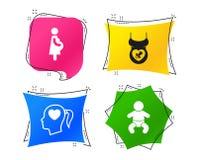 Значки материнства Младенец младенца, беременность, думмичная вектор иллюстрация штока