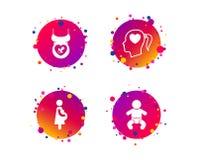 Значки материнства Младенец младенца, беременность, думмичная вектор бесплатная иллюстрация