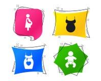 Значки материнства Младенец младенца, беременность, платье вектор иллюстрация вектора