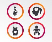 Значки материнства Младенец младенца, беременность, платье Стоковое Изображение RF