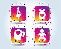 Значки материнства Младенец младенца, беременность, платье иллюстрация вектора