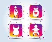 Значки материнства Младенец младенца, беременность, платье бесплатная иллюстрация