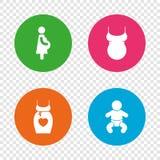 Значки материнства Младенец младенца, беременность, платье Стоковая Фотография