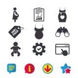 Значки материнства Младенец младенца, беременность, платье Стоковые Изображения RF