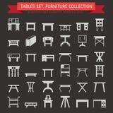 Значки мебели вектора плоские, символы таблицы силуэт различной таблицы - обедающего, сочинительства, таблицы шлихты Пиктограммы  Стоковое Изображение RF