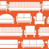 Значки мебели на безшовном Стоковое Изображение