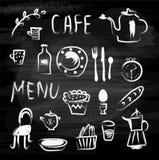 Значки меню и еды кафа на классн классном Схематичный дизайн, иллюстрация вектора Стоковое Фото