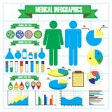 Значки медицинских и здоровья, infographic элементы Стоковые Изображения RF