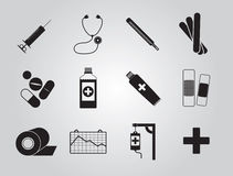 Значки медицины установили простой Стоковые Изображения RF