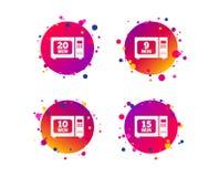 Значки микроволновой печи Кашевар в электрической плите вектор иллюстрация штока
