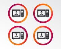 Значки микроволновой печи Кашевар в электрической плите бесплатная иллюстрация