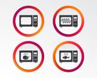 Значки микроволновой печи Кашевар в электрической плите иллюстрация штока