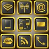 Значки мобильного телефона золотые. Стоковые Изображения RF