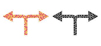 Значки мозаики стрелок развилки пиксела левые иллюстрация вектора
