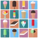 Значки мороженого в плоском стиле Стоковые Фотографии RF