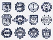 Значки моря, морских и пляжа ретро вектор комплекта сердец шаржа приполюсный Стоковые Фотографии RF