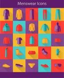 Значки мужская одежда плоские Стоковое Изображение