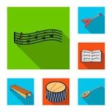 Значки музыкального инструмента плоские в собрании комплекта для дизайна Символ вектора аппаратуры строки и ветра равновеликий за бесплатная иллюстрация