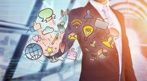Значки мультимедиа бизнесмена касающие на технологии взаимодействуют Стоковые Фото