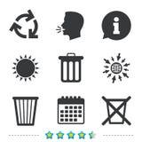 Значки мусорной корзины Повторно используйте или уменьшите символ Стоковые Фото