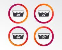 Значки мытья Машина washable на 40 градусах Стоковые Изображения